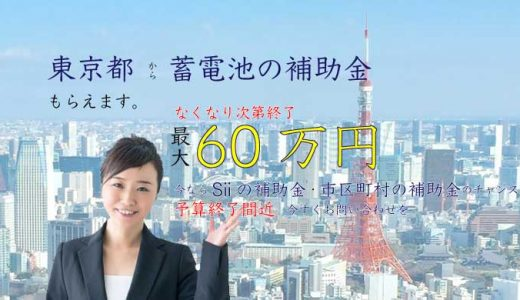 【東京都】蓄電池の補助金 自家消費プラン発表【令和2年度】市区町村の補助金一覧
